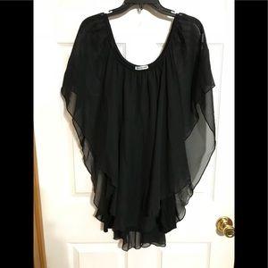 Beautiful Black winged  Chiffon Dress Shirt